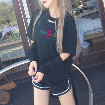 """Yves Saint Laurent YSL"" Women Casual Personality Ripped Hollow Letter Long Sleeve T-shirt Tops"