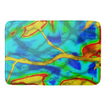 Branches in Bold Color Bath Mat