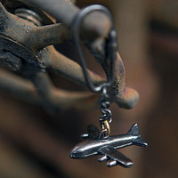 Vintage Antique Brass Key Chain Ring (Brass Airplane)