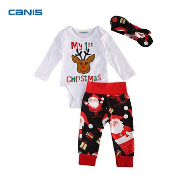 Xmas Newborn Infant Baby Girls Boys Clothes Deer Romper Tops Santa Claus Long Pants Toddler Baby First Christmas Outfits Set