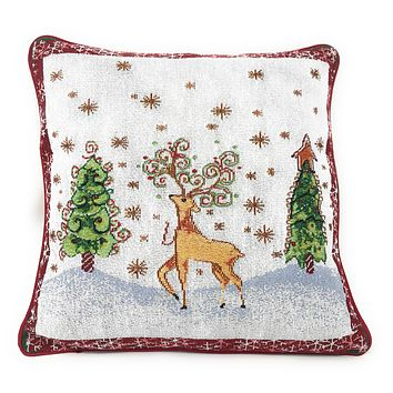 Tache Winter Forest Reindeer Vintage Holiday Woven Tapestry Cushion Cover (9192CC)