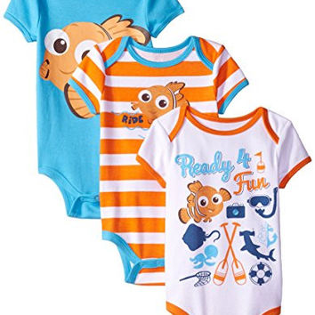 Disney Baby-Boys Finding Nemo Bodysuits, White, 12 Months (Pack of 3)