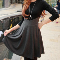 Color Block Long Sleeve Mini Dress