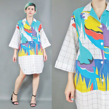 80s Parrot Print Shirt Dress Button Down Cotton Shirt Dress Novelty Print Dress Tropical Dress Checkered Shirtdress Oversized Shirt (L/XL)