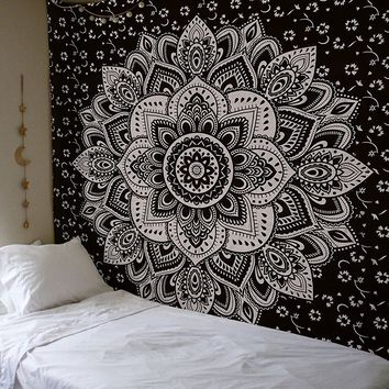 The Peyton Silver Black Lotus Wall Beach Boho Tapestry