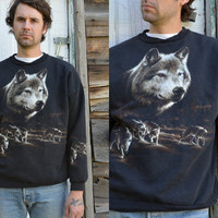 Vintage 90's All Over Print Howling Wolves by CoralLaceVintage