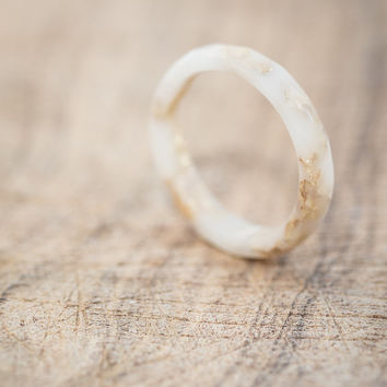 Vanilla White Resin Stacking Skinny Ring Gold Flakes Small Faceted Ring OOAK ivory french vanilla milk minimal chic