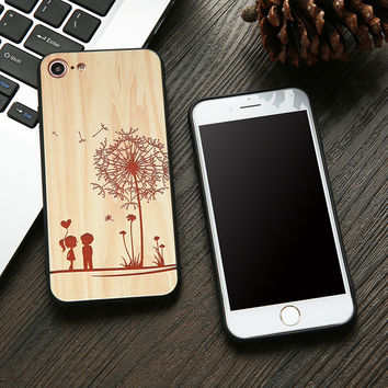 Fashion Wood Pattern Case For iphone 7 7 6 6s Plus Cover Cute DIY Rose Maple Wooden Embossed Lover Dandelion Phone Cases Fundas