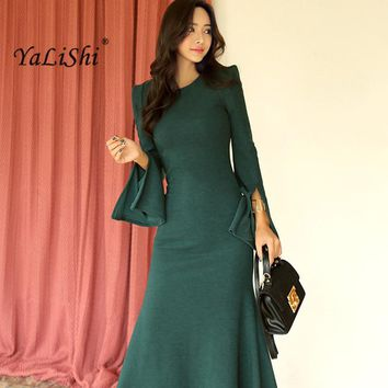 2018 New Spring Women Maxi Dresses Green O-Neck Fit and Flare Slim Split Long Dress Sexy Party Bandage Bodycon Dresses Vestidos
