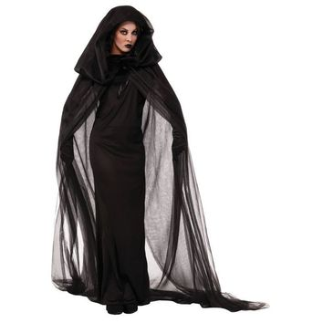 2017 Women Wandering Soul in the Night Plus Size Halloween Costumes Woman Ghost Party Role Playing Witch Cape Black Dress