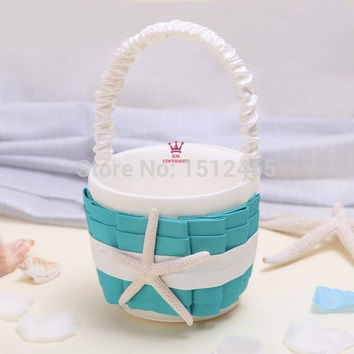 Free shipping,New arrived Turquoise Blue and ivory Starfish Wedding flower girl basket party favors baskets  HL31