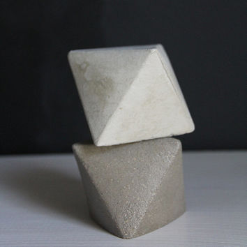 2 Colors Octahedron Concrete Geometric Object, Bookend, Paper Weight