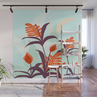 Orange Blooms #society6 #decor #buyart Wall Mural by mirimo