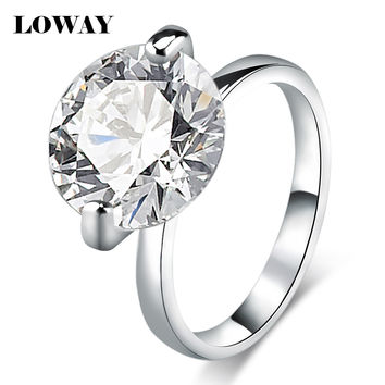 LOWAY Big 10 Carat Proposal Rings for Women Size 10 Cubic Zircon White Gold Plated Anillos Engagement Ring Jewellery JZ5893