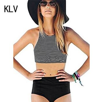 Split Biquini Monokini Swimsuit Womens bikinis 2017 mujer High Waist 2 Piece Stripe Bikini Spa Swimsuit Bathing Suit for women#1