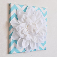 "TWO Wall Flowers -White Dahlia on Aqua and White Chevron 12 x12"" Canvases Wall Art- Baby Nursery Wall Decor-"