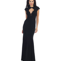 Black Lace Keyhole Sheer Open Back Gown 2015 Prom Dresses