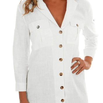 White Buttoned Pockets Shawl Collar Linen Blouse