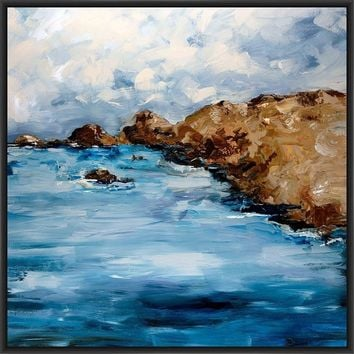 RUSTIC COAST 28L X 28H Floater Framed Art Giclee Wrapped Canvas