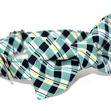 Navy Tartan BowTie Dog Collar - Navy Scout