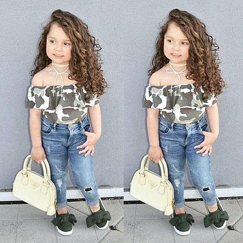 Kids Girls Off Shoulder Camo Tops Jeans Pants 2017 new arrival fashion Denim Clothes Outfits Set Age 2-7Y