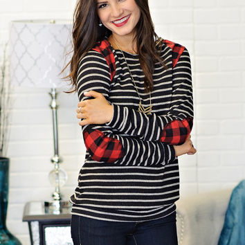 * Milana Striped Top With Plaid Accents:  Charcoal