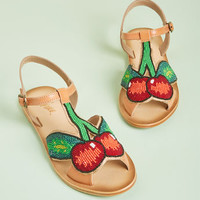 Miss L Fire Cherry a Tune Beaded Leather Sandal