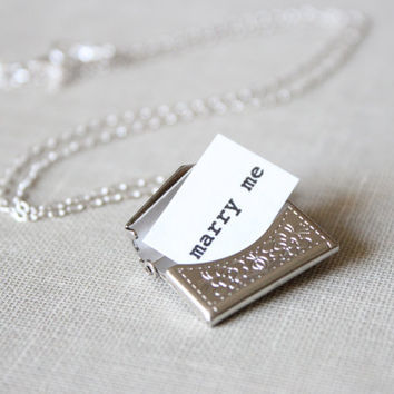 Silver Envelope Necklace with Secret Message  by brookeelissa