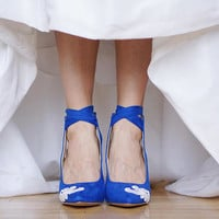 Blue Wedding Shoes,Blue Heels,Bridal Shoes,Wedding Heel,Blue Bridal Heel,Gift,Bride,High Heels,Something Blue,Blue Pumps with Ivory Lace