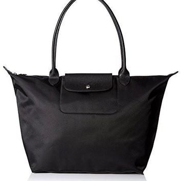 Auth Longchamp Le Pliage Neo Medium / Large Shopping Tote Handbag Bag Black - Beauty Ticks