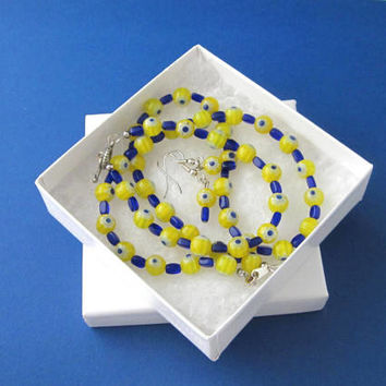 Yellow and Blue Necklace, Millefiori Necklace, Millefiori Jewelry, Yellow and Blue Flower Necklace, Yellow and Blue Earrings, Spring Jewelry