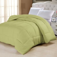 King Size Down Alternative Comforter in Solid Sage Green Yellow Cotton Poly Microfiber