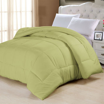 Queen Size Sage Green Comforter in Cotton Poly Blend Microfiber
