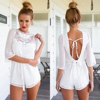 Backless White Lace Romper