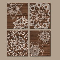Wood Wall Art, Bedroom Wall Decor, CANVAS or Prints Bathroom Decor, Bedroom Wall Decor, Doilies Mandala Wall Art, Medallion Set of 4 Home