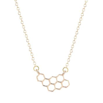 Gold Silver Plated Bee Hive Geometric Necklace Small Pendant Tiny Simple Women
