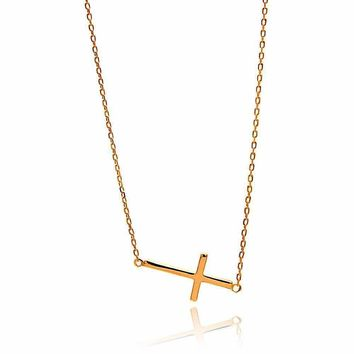 .925 Sterling Silver Gold Plated Sideways Cross Necklace 18 Inches