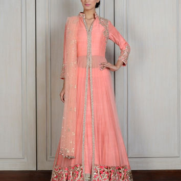Peach color long anarkali jacket lehenga