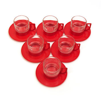 6 Espresso cups and saucers. Red plastic, glass. Moulinex. Set of 6. 70s