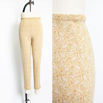 Vintage 1960s Pants - Gold Metallic  High Waisted Pin Up Cigarette Knit Leggings 60s - Small
