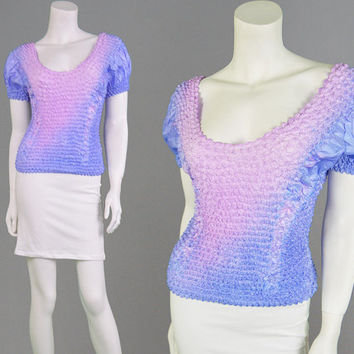 Vintage 90s Pastel Tie Dye Popcorn Top Club Kid Rave Shirt Kawaii Top Textured Top Festival Top Stretchy Top Crinkled Effect Bubble Shirt