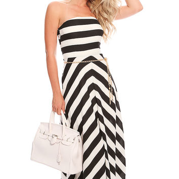 Black White Stripe Strapless Summer Casual Maxi Dress
