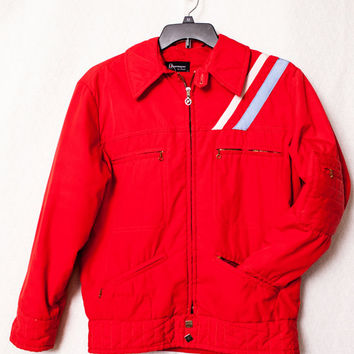 Red Obermeyer Retro Jacket, Men's Medium Red Obermeyer Jacket, Mens Vintage Obermeyer, Vintage Ski Party Jacket
