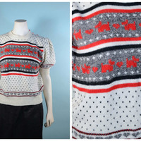 Vintage 70s White Black Scotty Dog Heart Puff Sleeve Sweater/Kitsch Kawaii Lolita School Girl Fair Isle Sweater M