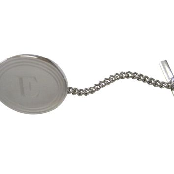 Silver Toned Etched Oval Letter E Monogram Tie Tack