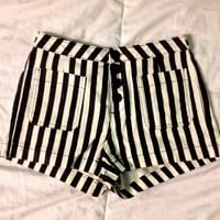 Forever 21 Black & White Striped Shorts