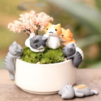 6 Pcs Set Cute Lazy Cats for Garden Decorations