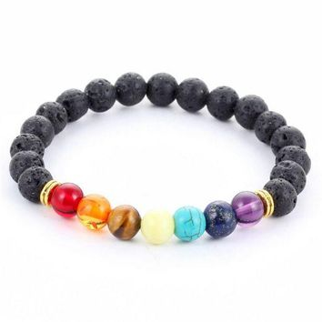 ONETOW new design mens bracelets black lava 7 chakra healing balance beads bracelet for men women rhinestone reiki prayer stones