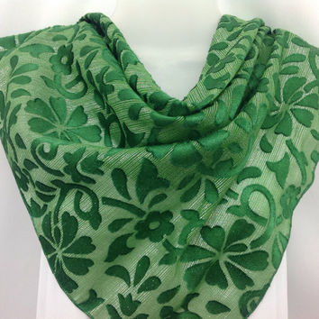 SALE for Spring Green Silk Shawl, Burnout silk, Big Scarf, Gift for teacher or wife, Holiday Gift idea, Best friend Coworker Gift