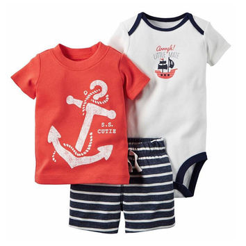 Climbing short clothes 0-2Y baby Baby Boys Clothing Set 3pcs/Set Trousers + 2pcs Striped 2017 Spring Suit Baby Clothes
